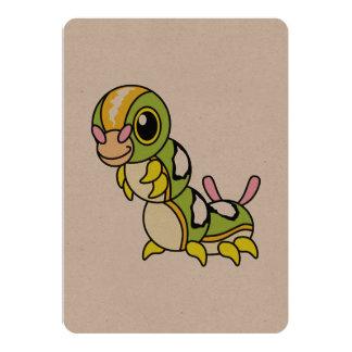 "Caterpillar colorido feliz lindo invitación 5"" x 7"""