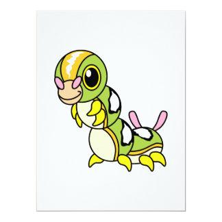 "Caterpillar colorido feliz lindo invitación 6.5"" x 8.75"""