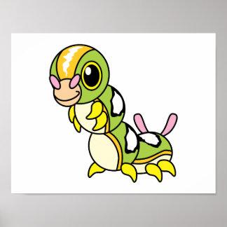 Caterpillar colorido feliz lindo posters