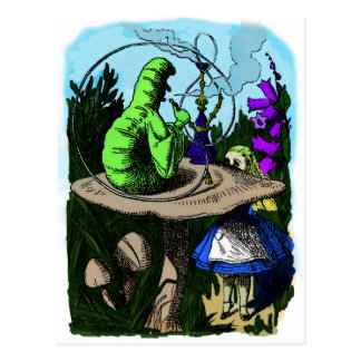Caterpillar Colorized Alice in Wonderland Postcard