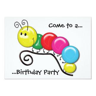 """Caterpillar en una fiesta de cumpleaños de la invitación 5"""" x 7"""""""