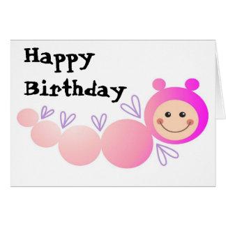 Caterpillar feliz rosado tarjeta de felicitación