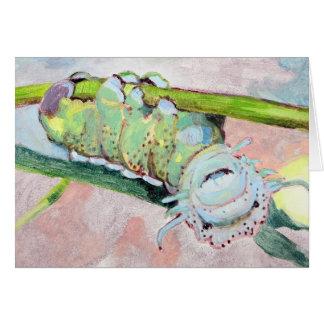 Caterpillar más feliz en la hoja tarjeta de felicitación