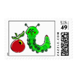 Caterpillar Munched Apple Postage Stamp