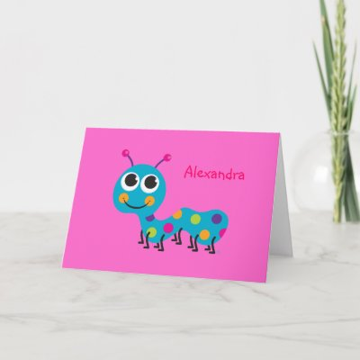 Caterpillar Notecard on Hot Pink Background by creatingmybestlife
