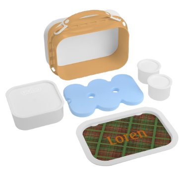 Beach Themed Caterpillar on Brown, Orange and Green Plaid Lunch Box