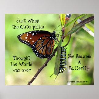 Caterpillar/poster de la cita de la mariposa póster