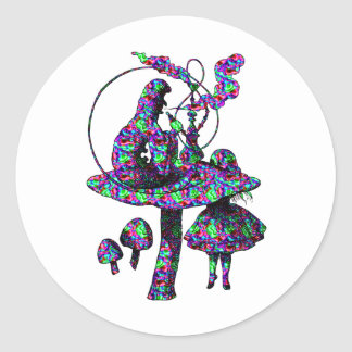 Caterpillar Psychadelic Round Sticker