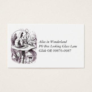 Caterpillar Smoking Hookah and Alice Business Card