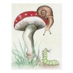 Caterpillar y caracol tarjeta postal