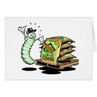 Caterpillar y semillas divertidos felicitacion