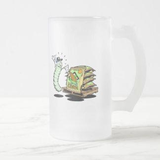 Caterpillar y semillas divertidos taza cristal mate