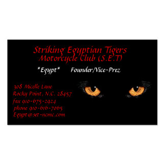 cateyes Striking Egyptian Tigers Motorcycle C Business Cards