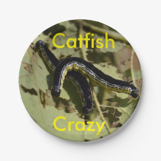 Catfish Crazy Catalpa Worms Paper Plate