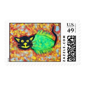 """Catfish"" Folk Art Postage Stamp"