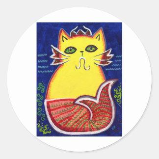 Catfish Kitty Round Sticker