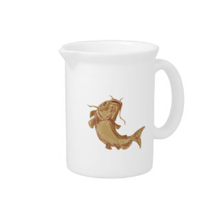 Catfish Mud Cat Going Up Drawing Beverage Pitcher