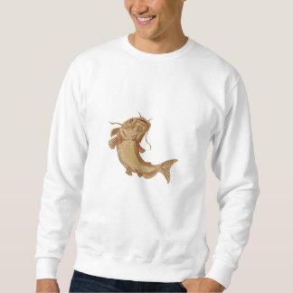 Catfish Mud Cat Going Up Drawing Sweatshirt