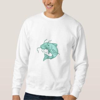 Catfish Mud Cat Jumping Mono Line Sweatshirt