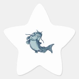 Catfish Mud Cat Jumping Up Drawing Star Sticker