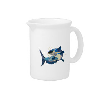 Catfish Mud Cat Looking Up Low Polygon Drink Pitchers