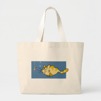 Catfish Pun Large Tote Bag