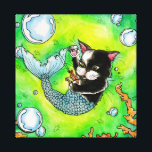 "Catfish-wrapped canvas<br><div class=""desc"">A bright &amp; vivid watercolor painting of a cat mermaid playing with his shrimp friend.</div>"