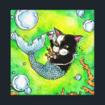"""Catfish-wrapped canvas<br><div class=""""desc"""">A bright &amp; vivid watercolor painting of a cat mermaid playing with his shrimp friend.</div>"""