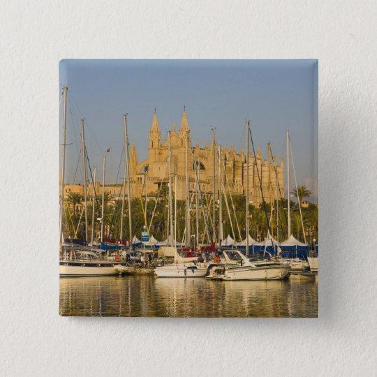Cathedral and marina, Palma, Mallorca, Spain 2 Button