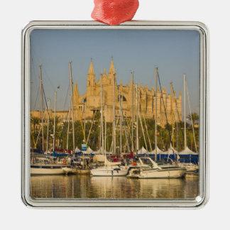Cathedral and marina, Palma, Mallorca, Spain 2 Metal Ornament