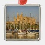 Cathedral and marina, Palma, Mallorca, Spain 2 Square Metal Christmas Ornament