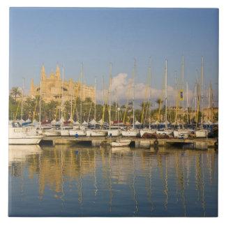 Cathedral and marina, Palma, Mallorca, Spain Ceramic Tile