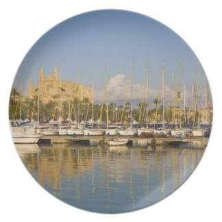 Cathedral and marina, Palma, Mallorca, Spain Plate