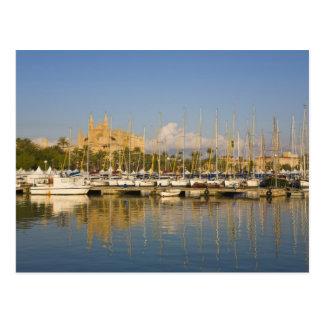 Cathedral and marina, Palma, Mallorca, Spain Postcard
