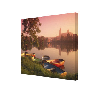 Cathedral and River Tormes Salamanca Castile Stretched Canvas Print