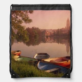 Cathedral and River Tormes, Salamanca, Castile Drawstring Backpack