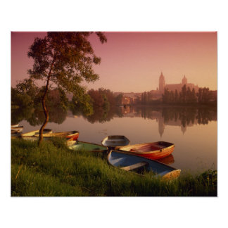 Cathedral and River Tormes, Salamanca, Castile Poster