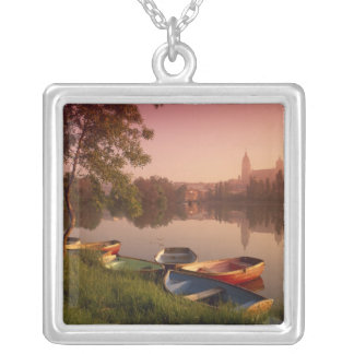 Cathedral and River Tormes, Salamanca, Castile Square Pendant Necklace