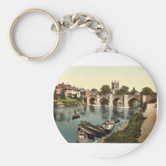 Cathedral and Wye bridge, Hereford, England rare P Key Chains