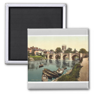 Cathedral and Wye bridge, Hereford, England rare P Fridge Magnets