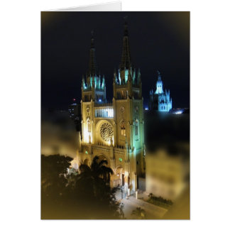 Cathedral at Night-Guayaquil, Ecuador Card