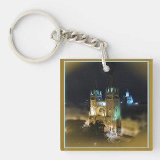 Cathedral at Night-Guayaquil, Ecuador Keychain