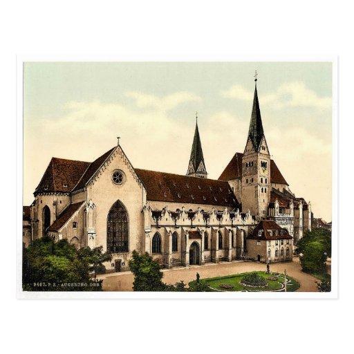 Cathedral, Augsburg, Bavaria, Germany vintage Phot Postcard