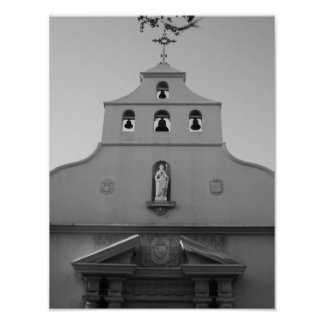 Cathedral Basilica St. Augustine Florida B&W Poster