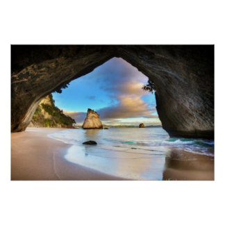 Cathedral Cove Serene Beach Poster