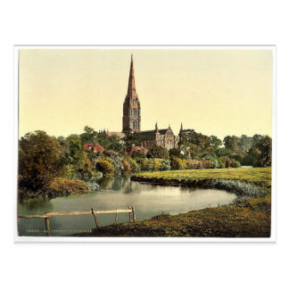 Cathedral, from the river, Salisbury, England rare Postcard