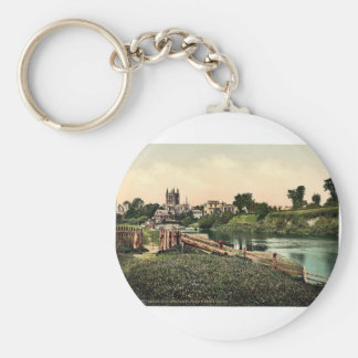 Cathedral from Wye Meadows, Hereford, England rare Keychain