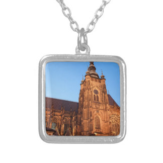 Cathedral in Prague Square Pendant Necklace