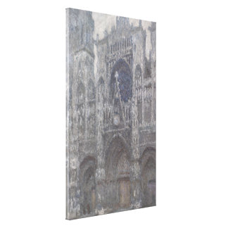 Cathedral in Rouen Portal Grey Weather by Monet Canvas Print