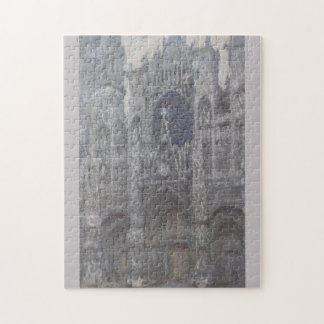 Cathedral in Rouen Portal Grey Weather by Monet Jigsaw Puzzle
